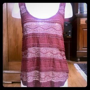 Sparkle & Fade UO lace & mesh dressy tank top S/M